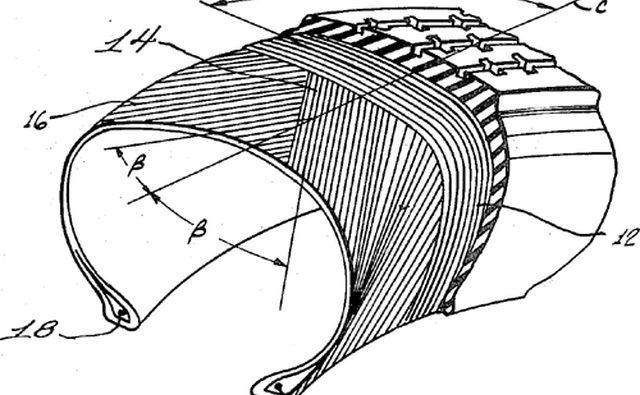 Диаграмма шин, показывающая как смещение, так и радиальные сгибы. Источник: Патентное ведомство США через commons.wikimedia .org