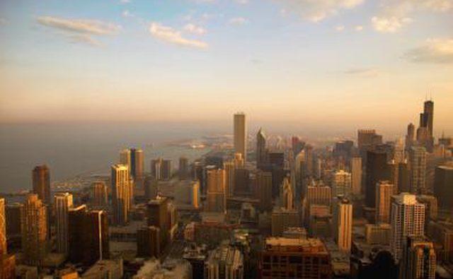 Вид на Чикаго, большой город.