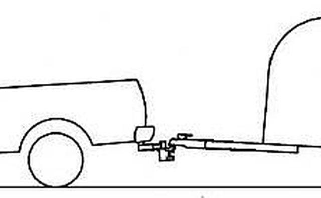 Задняя часть буксируемого автомобиля поднята на 3 дюйма