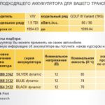 Характеристики аккумуляторов VW TDI