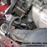 Расположение термостата для Mazda 626