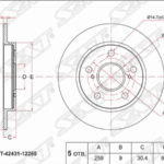 Технические характеристики толщины тормозов Toyota